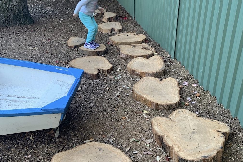 Recycled tree trunks as stepping stones